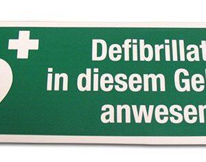 Aufkleber Defibrillator im Gebäude